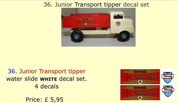 36. Tri-ang Junior Transport tipper decal set